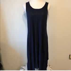 SPENSE Navy LINEN Asymmetrical Maxi Dress-Medium